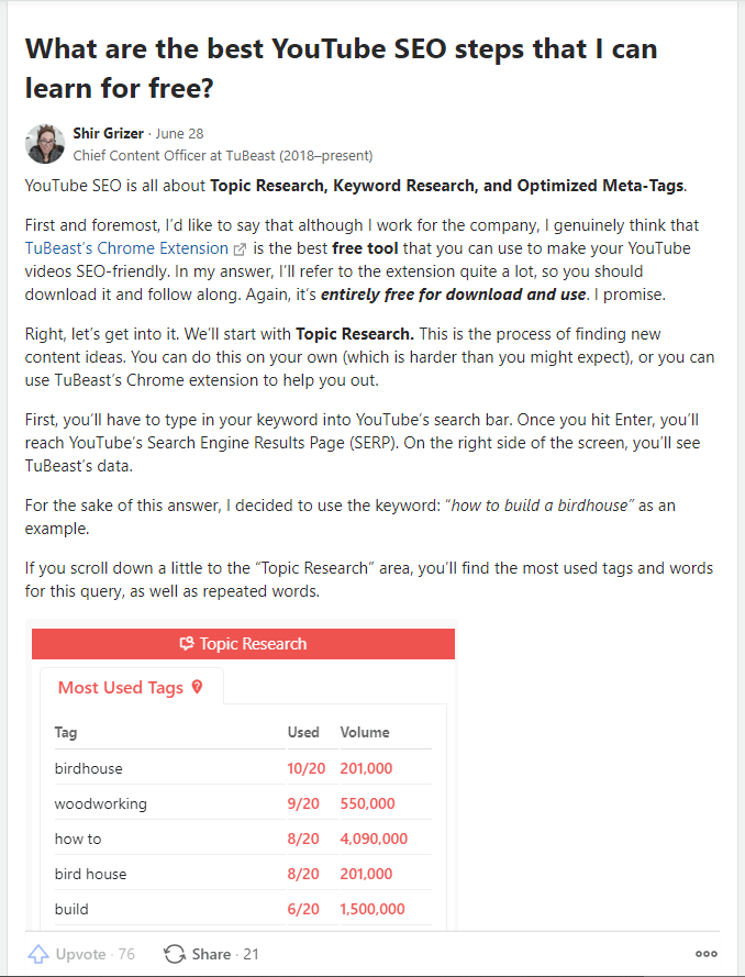 Quora answer that brings value and promotes TuBeast