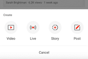 YouTube Stories Upload Button